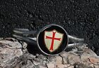 Knights Templar Shield with Red Cross Image Cuff Bracelet