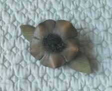 UNUSUAL VINTAGE HAND CRAFTED LEATHER FLOWER BROOCH
