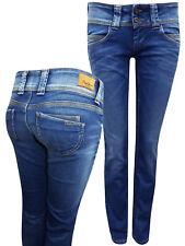 Pepe Jeans BLUE-DENIM Venus Low Rise Regular Fit Straight Leg Denim Jeans  NEW