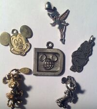 LOT OF 5 STERLING DISNEY CHARMS MICKEY, MINNIE, TINK, POOH, SIGNED, GREAT PRICE!