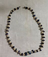"Vintage Silvertone Metal Blue White Mother of Pearl Shard Bead 16.5"" Necklace"