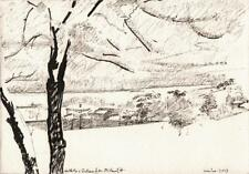 MICHAEL ANTHONY FELL Small Pen & Ink Drawing WINTER LANDSCAPE 2013