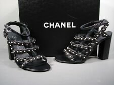 Chanel Dark Navy Lambskin Strappy Camellia Pearls Sandals Shoes Heels 36.5 New