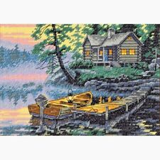 Counted Cross Stitch Kit MORNING LAKE Dimensions Gold Collection