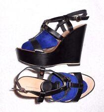 TOSCA BLU sandales compensées cuir noir P 38 TBE