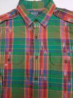 Polo Ralph Lauren Mens Shirt Madras Plaid Green Long Sleeve  Large L