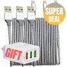 3Pack 6Ft iPhone Charger Lightning Heavy Duty Cable X 8 7 6 USB Charging Cord QC