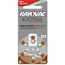 60 Rayovac Extra Mercury Free Hearing Aid Batteries Size: 312 + Battery Holder