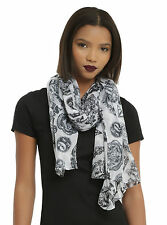Harry Potter Neck Scarf Hogwarts Black & White Tossed Icon Oblong Sheer Viscose