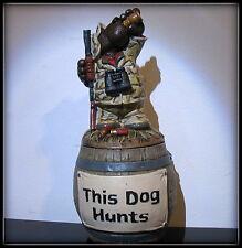 New RARE Barrel of Laffs Money jar Blood hound Dog Gun Hunter Hunting funny