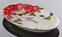 BASSANO ovale Tomaten Caprese Servierplatte 30x19 italienische Keramik NEU