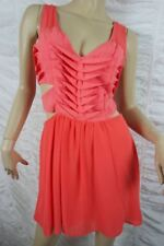 FINDERS KEEPERS neon pink orange Hold On cut outs skater mini-dress size 10