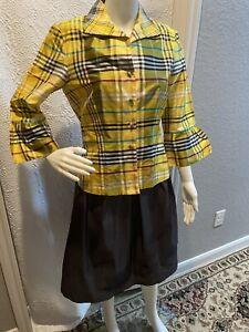 marisa baratelli plaid silk blouse