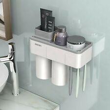 TOOTHBRUSH HOLDER MAGNETIC CUPS SET WALL MOUNT RACK