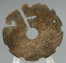 China Chinese Brown Jade Carved Amulet Pendant Zoomorphic Bi Disk Hongshan Style