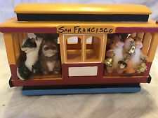 "Charming Tails ""Clang Clang Clang"" Signed Trolley Plays Music Fitz And Floyd"