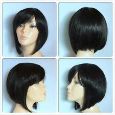 Fibra de alto resistente al calor el cabello súper elegante corto lacio dama peluca off negro 1B