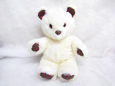 "Vtg 1988 Large 19"" Applause Nostalgic Teddy Bear Cream Plaid Paws And Ears"