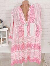Oversize Blusenkleid Tunika Kleid Blogger Pink Weiß Azteken gemustert 38 40 42