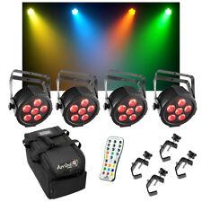 (4) Chauvet DJ Lighting SlimPAR H6 USB RGBAW+UV Wash Light w/ Remote Bag Clamps