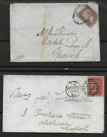 2 Small Envelopes-1847&58. Both Liverpool To Ipswich.Stamps Are SG8&40.Ref:0.107