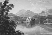 SCOTLAND Lake Loch Awe & Kilchurn Castle - 1839 Antique Print Engraving