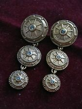 Discontinued T. TAHARI Earrings SHIP'S WHEEL or GRECO-ROMAN SHIELDS w/ Crystals