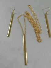 "A Gold Tone Stick Noble Simple Bar Bone Charm Earring, 30"" Long chain Necklace"