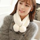 Women Winter Warm Plush Scarf Stole Cape Collar Wrap Scarves Shawl White