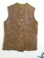 """NAMED VINTAGE WW2 BRITISH ARMY ATS DISTRESSED LEATHER JERKIN JACKET SIZE 38"""""""