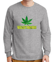 Vegeterian Pot Leaf Men's Long Sleeve T-shirt Marijuana Weed  - 1026C