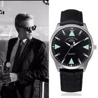 New Men's Retro Design Leather Band Watches Analog Alloy Quartz Wrist Watch