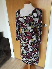 Ladies DEBENHAMS Dress Size 12 14 Red Grey Stretch Smart Casual Day Party