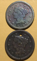 Lot633 1847 & 1848 Large Cent Matron Braided Hair