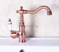 Antique Red Copper Single Hole Bathroom Basin Faucet & Vessel Sink Tap tnf137