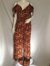 Glamorous Leopard Print Cold Shoulder Jumpsuit Size S Uk 10