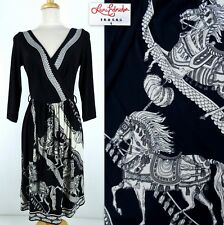 LEONA EDMISTON FROCKS Dress 1 Leona = 6 US Black White Horse Faux Wrap Jersey