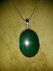 Vintage Beautiful Large Malachite Stone Pendant With 20 inch Chain Necklace