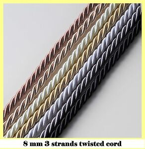 8 mm twisted cord 3 strand 1 3 5 10m for upholstery craft jewellery pipping bags