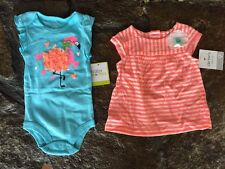 Lot Clothing Carters Baby Girl New NWT Summer Blue Bright 6-9m 9m Striped #D4