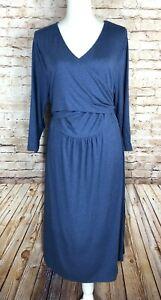 New! GAP Maternity Women's XL Knit SOFT Rayon Spandex Heather Blue Dress NWT