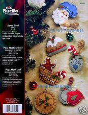 Bucilla Chef Santa ~ 6 Pce. Felt Christmas Ornament Kit #85459 Baking, pudding