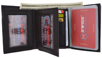RFID Blocking Men's Genuine Leather Thin Trifold Wallet 10+ Card Holder New