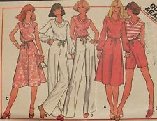 Amazing VTG 77 McCALLS 5579 MS Cowl-Neck Top Skirt Pants/Shorts PATTERN 10-12