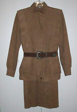 ULTRASUEDE Skirt Suit MOD Zippered Jacket Sz S Olympic Leather Fashions Brown EX