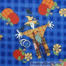 BonEful Fabric FQ Cotton Quilt VTG Blue Orange Country Scarecrow Plaid Pumpkin L
