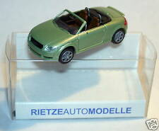 MICRO RIETZE HO 1/87 AUDI TT ROADSTER VERT PALE METAL avec rétroviseurs in box