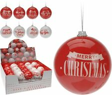 Traditional Festive Red/White Christmas Baubles Tree Decorations Xmas Baubles