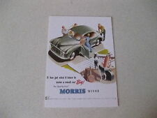 MORRIS MINOR GREEN 2 DOOR MODEL 1954 POSTCARD OF AN ORIGINAL ADVERT RARE AND NEW