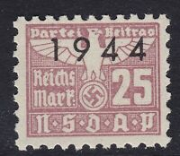 Stamp Germany Revenue WWII 1944 3rd Reich War Era Party Dues 00.25 MNH
